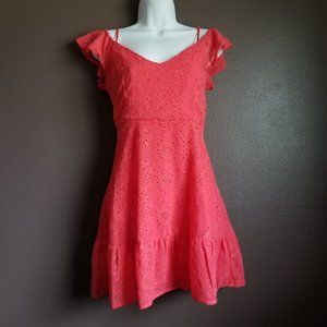 BB Dakota coral eyelet off shoulder spring dress